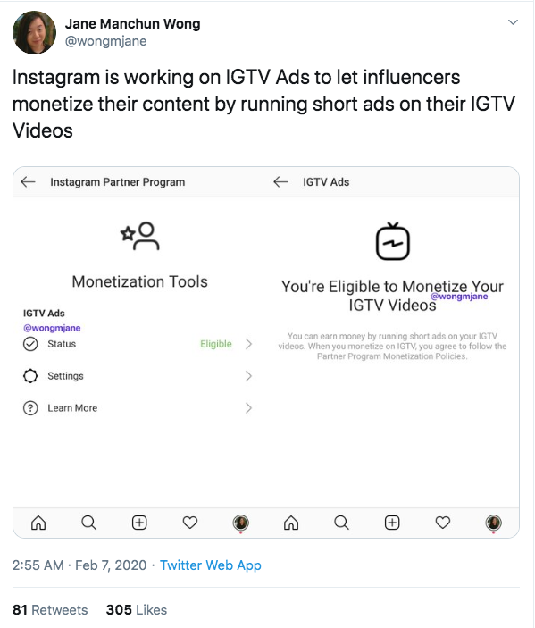 instagram test IGTV