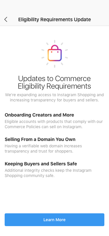 Screenshot - Commerce Eligibility Requirements